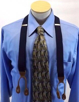 Men's Suspenders Braces Brown Leather Blue Elastic Gold Tone Hardware Preowned