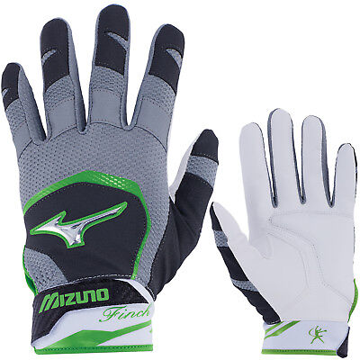 Mizuno Finch Women's Fastpitch Softball Batting Gloves - Black/Sulphur - XS