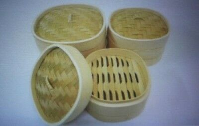 """5"""" Superior Quality Square Rounded Bamboo steamer 2 Layers with 1 Lid"""