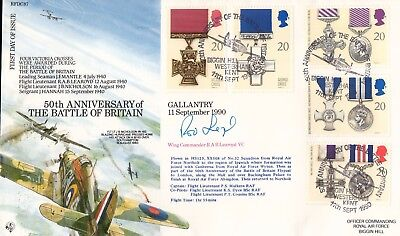 50th Anniv. of Battle of Britain cover signed by Wg Cdr R A B Learoyd VC