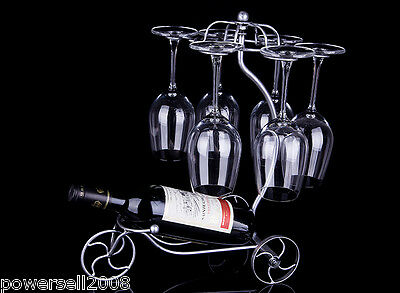New European Antique Silver Decoration Wrought Iron Wine Glass Holder Rack &$