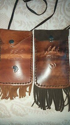 African Leather Handcrafted Pouches (Lot Of Two) Carved Tribal-Great Condition