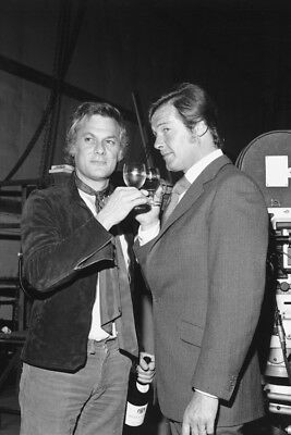 Roger Moore Tony Curtis toasting by movie camera The Persuaders! 24x36 Poster