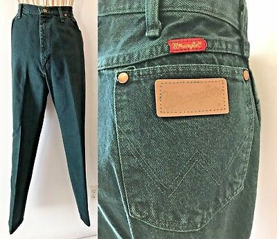 Vintage 1980s Wrangler Green High Waist Jeans Women size 16 31x34 made in USA P3