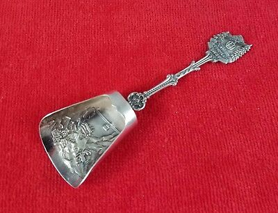 Gondola Banff Repousse Figural Silverplate Souvenir Tea Caddy / Nut Sugar Scoop