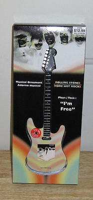 Rolling Stones Collectible Musical Guitar Ornament Plays Part of I'm Free
