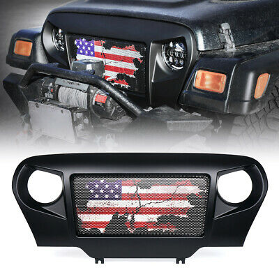Front Mesh Gladiator Angry Monster Grille Black for 97-06 Jeep Wrangler TJ