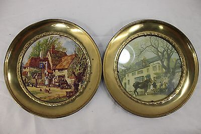 Vintage Brass Chimney Flue Vent Stove Covers Victorian Scene Lot of 2 England