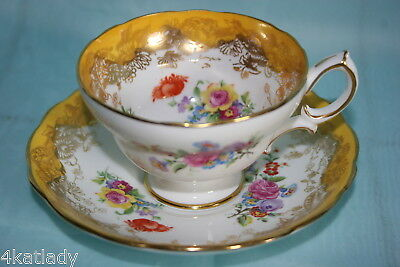Lovely Vint Hammersley bone china cup saucer-Yelow/gold & Flower Bouquet w/Rose