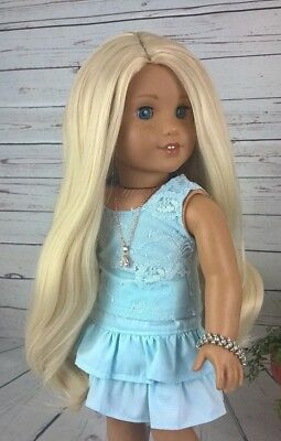 """10-11 Custom Doll Wig fit Blythe-American Girl-1/4 Size """"Bleached Blonde"""" bn1"""