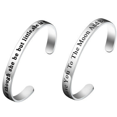 Stainless Steel Quote Stamped Bracelet Love Cuff Open Bangle Women Men Jewelry