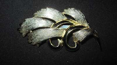 Vintage Brooch Gold Silver Costume Estate Jewelry Leaf Abstract Pin Bold 20.2 Gr