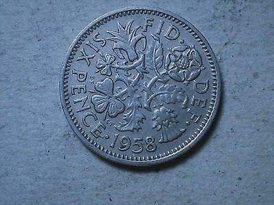 Great Britain 6 pence sixpence  1958 young queen Wedding gift coin