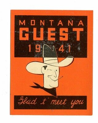 Vintage Advertising Travel Label MONTANA GUEST 1941 Highway Department cowboy