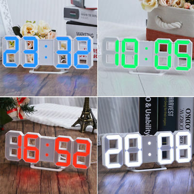 Large 3D Modern Digital LED Table Wall Clock 24/12 Hour Display Timer Alarm Home