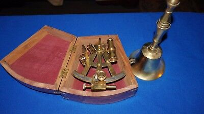 Antique-Finish Stanley London Solid Brass Sextant and bell