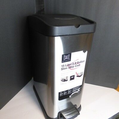 Slim Step Trash Can Stainless Steel 3.9 Gallon (15 Liter) with Strong Foot Pedal