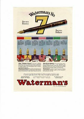 Vintage 1929 Waterman's No. 7 Ink Pen Seven Points Ad Print