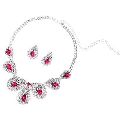 Stunning Bridal Crystal Diamante Waterdrop Necklace Earrings Jewelry Set