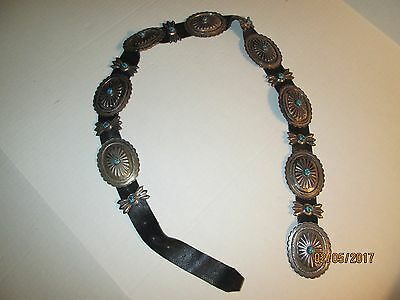 Vintage Navajo Sterling Silver & Turquoise Large Butterfly Concho Belt