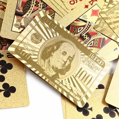 Stylish Waterproof Luxury 24K Gold Foil Plated Poker Playing Cards Table Games