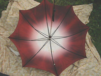 Vintage 40s 50s Nylon Umbrella 29w 26L Wood Handle Parasol VARIEGATED Travel