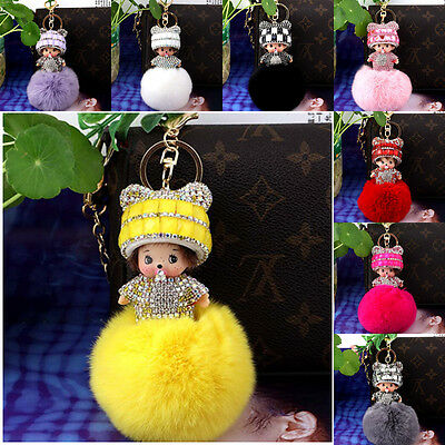Cute Keychain Jewelry Bowknot Hat Monchichi Gorgeous Genuine Rabbit Furball New
