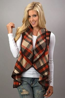 Open front waterfall plaid vest brown, taupe, rust red boutique item