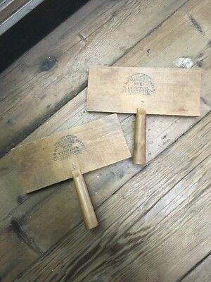 Vintage Pair of Early 1900's Old Whittemore No. 10 Cotton Carding Brushes
