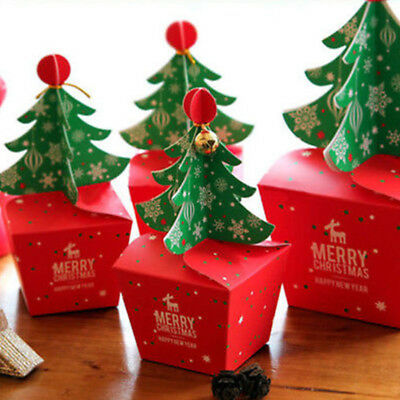 2017 Merry Christmas Tree Bell Party Paper Favour Gift Sweets Carrier Bags Box#L