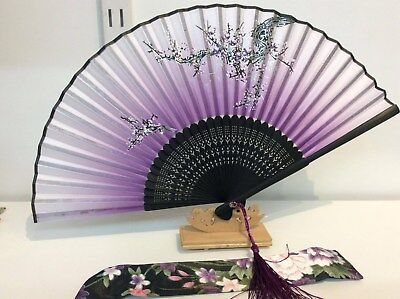 Japanese Silk Hand Fan- Panda and Bamboo w Silk Fan Holder- F011-012