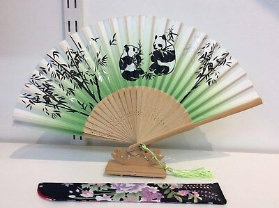 Japanese Silk Hand Fan- Panda and Bamboo w Silk Fan Holder- F013-014