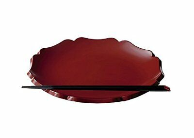 Lacquer Ware Square Bowl Plates Flower Rinka 11.0 Red Large KZ2018 MADE IN JAPAN