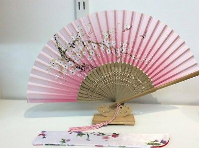 Japanese Silk Hand Fan- Sakura Flower and Butterfly w Silk Fan Holder- F015-016