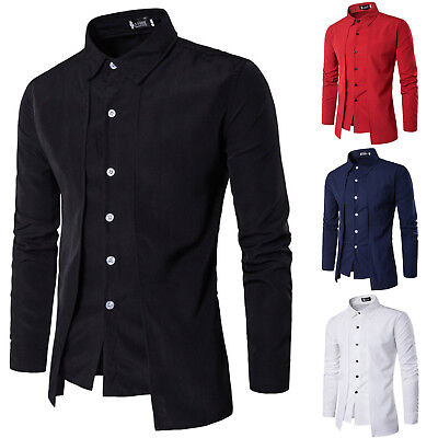 Mens Luxury Casual Long Sleeve Business Formal Slim Dress Shirts Top T-shirt