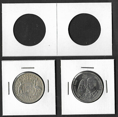 COIN HOLDERS Square 2 x 2 Staple Type 30mm Suits 20c & 2/- Coins Pack of 50