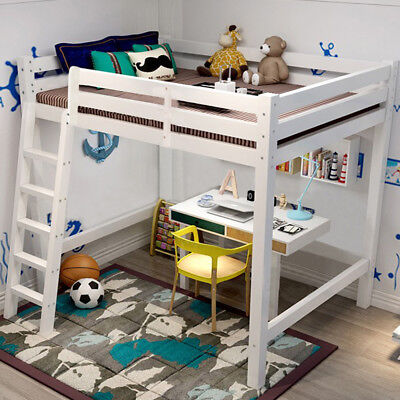 High Sleeper Cabin Bed Kids & Ladder Solid Wooden Loft Bunk Bed Furniture White