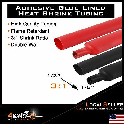 """2x10ft Heat Shrink Tube Red&Black Length 1/2"""" 3:1 Ratio Adhesive Double Wall"""