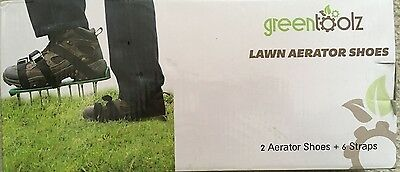 lawn aerator shoes with metal buckles and 6 straps