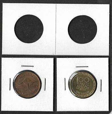 COIN HOLDERS Square 2 x 2 Staple Type 27.5mm Suits $1 & ½d Coins Pack of 100