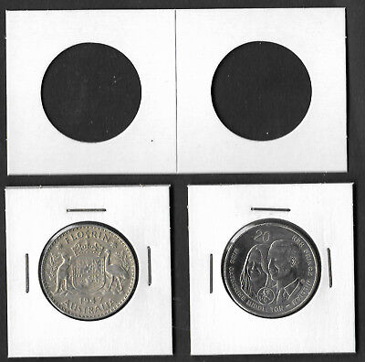 COIN HOLDERS Square 2 x 2 Staple Type 30mm Suits 20c & 2/- Coins Pack of 100