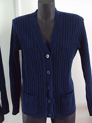 vintage wool cardigan jumper cable pleated blue size 16 (free size S-M-L-10-12)
