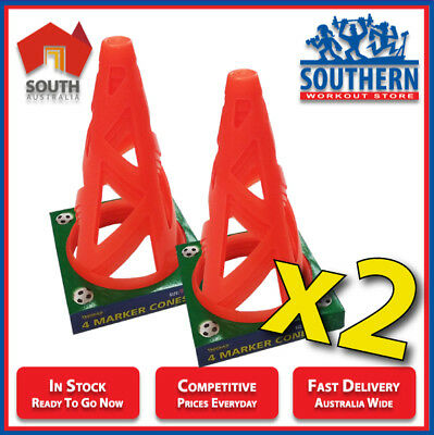 DOUBLE DEAL Marker Cones 4 Pack Sports Training Drills Collapsible 23cm