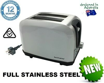 Cafe Style LILY WHITE Retro Look 2 Slice Stainless Steel Wide Slot Bagel Toaster