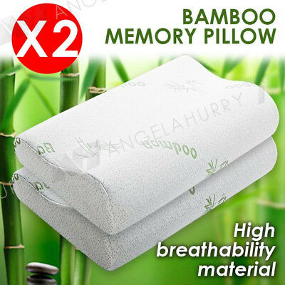 2x Luxury Soft Contour Bamboo Pillow Memory Foam Fabric Fibre Cover Bed AU