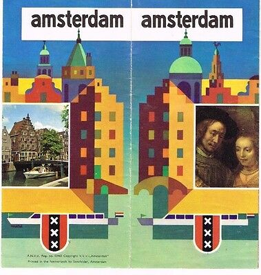 Amsterdam Travel Brochure The Netherlands Sights Info Pics Art Deco 1960's Pics