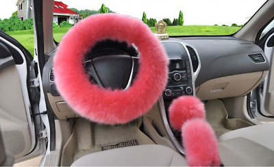 Pink Plush Fuzzy Fluffy Auto Car Steering Wheel Cover Universal Warm For Winter