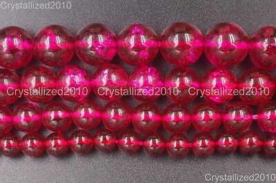 Natural Crystal Quartz Rock Insid Red Gemstone Round Beads 4mm 6mm 8mm 10mm 16''