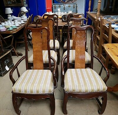 Rare 1970's Set of Six Chinese Style Chairs