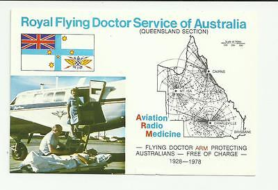 vintage Royal Flying Doctor service Queensland section 1978 postcard. unused